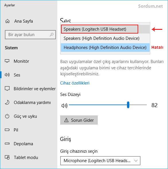 Windows 10 da çıktı cihazını düzeltmek