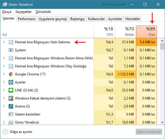 Superfetch disk kullanımı yüzde yüz