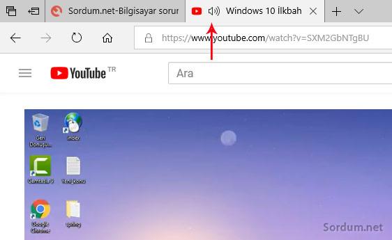 Microsoft edge sekme sesi simgesi