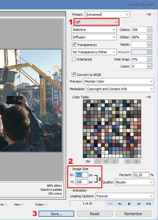 Photoshopta animasyonu gif olarak kaydetmek