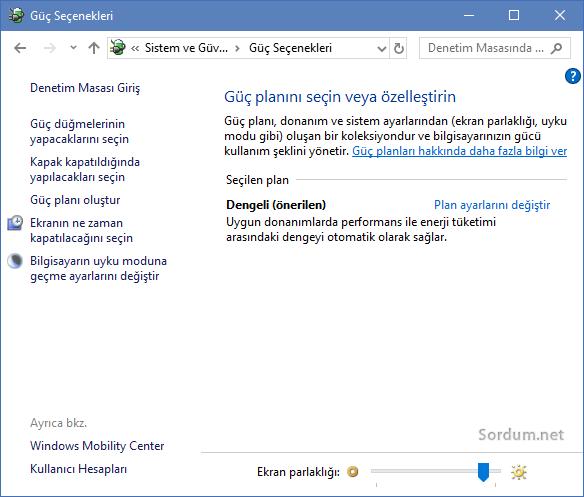 Windows 10 güç seçenekleri