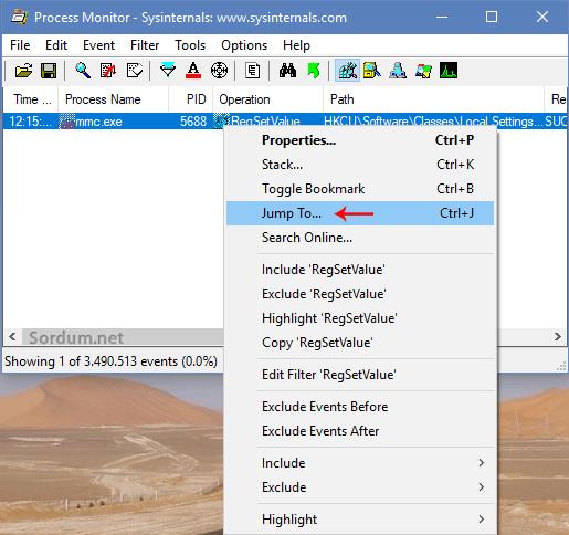 process monitor ile registry anahtarına sıçramak