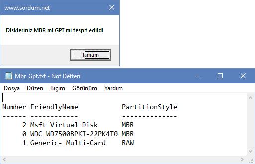 scrip ile disk gpt  mi tespit etmek
