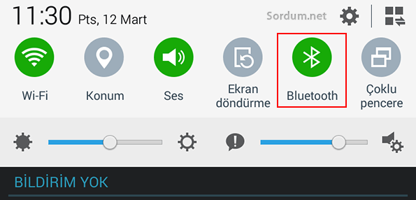 Tablet bluetooth açık