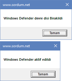 vbs ile Windows defenderi kapatıp açmak