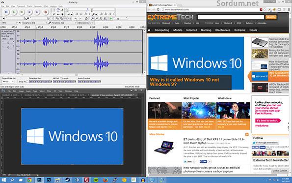Windows 10 da çok görevli açık