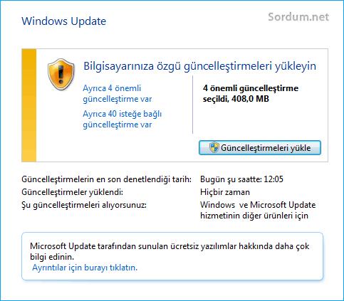 Windows 7 güncellemeleri