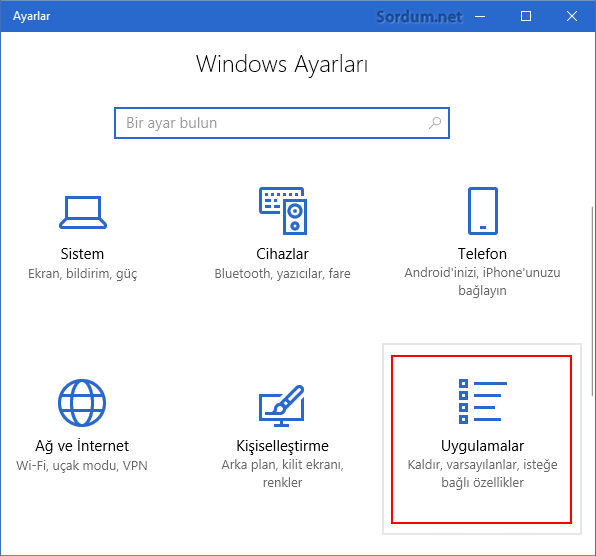 Windows 10 da Uygulamalar