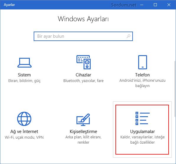 Windows 10 da Uygulamalar