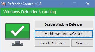 Defender control yazılımı ile defenderi kapatmak- açmak