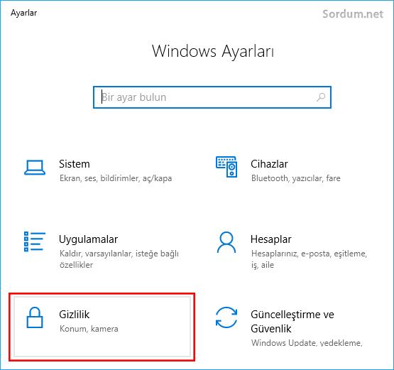 Windows gizlilik ayarları