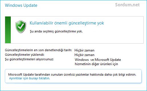 Windows 7 de yeni güncelleme bulmuyor