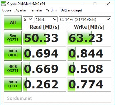 5400 rpm HDD okuma - yazma hızları