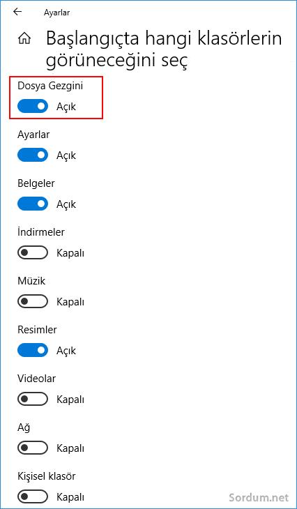 windows 10 da başlangıçta görünecek klasörleri seçelim