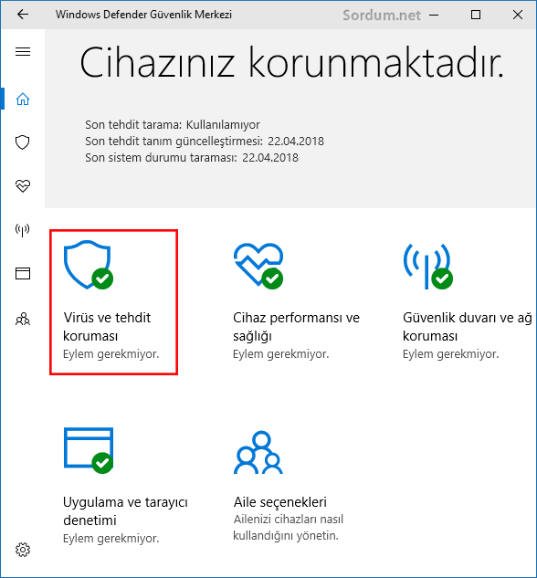 Windows defender gvenlik merkezi