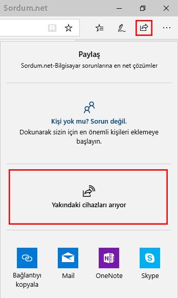 Microsoft EDGE üzerinden yakın paylaşım
