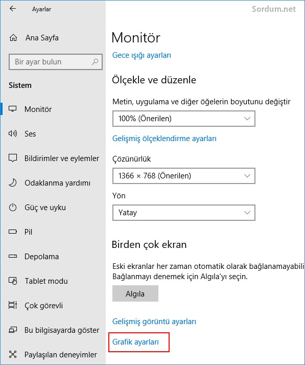 Windows 10 Grafik ayarları