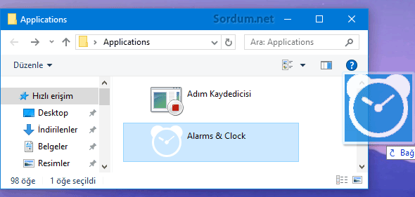 Windows 10 da kronometre kısayolu