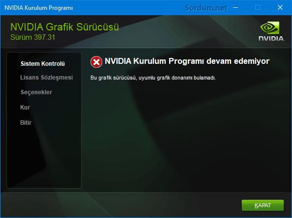 Nvidia kurulum programı devam edemiyor