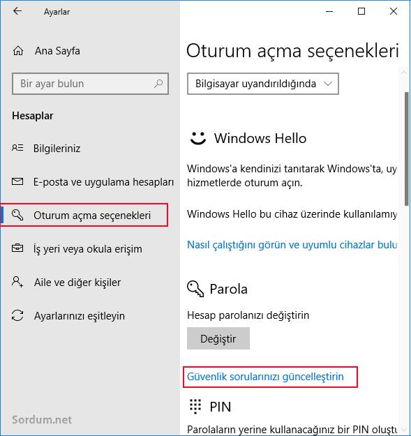 windows 10 Oturum açma seçenekleri
