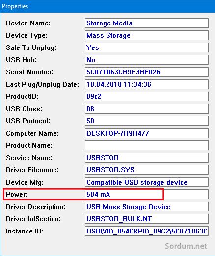Sony USB belleğin kullandığı güç