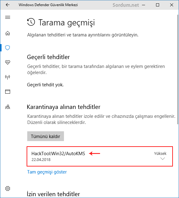 Windows defender tarama geçmişi