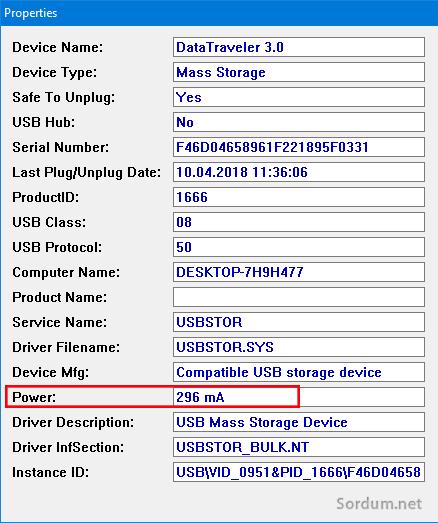 USb belleğin porttan kullandığı güç
