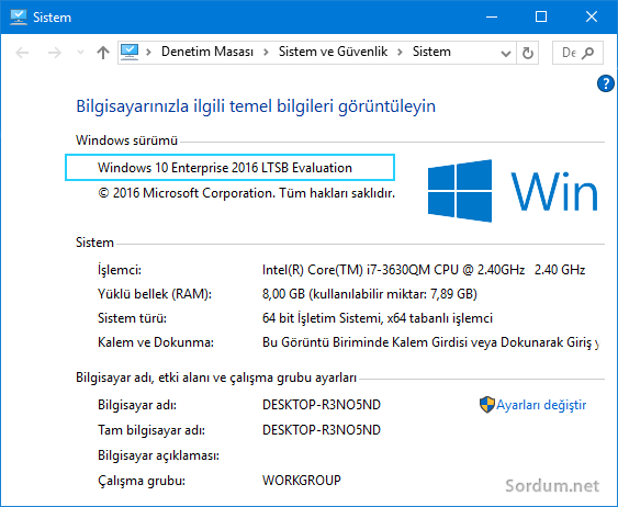 Windows 10 LTSB sürümü