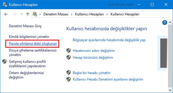 Windows 10 paroıla sıfırlama medyası oluşturalım