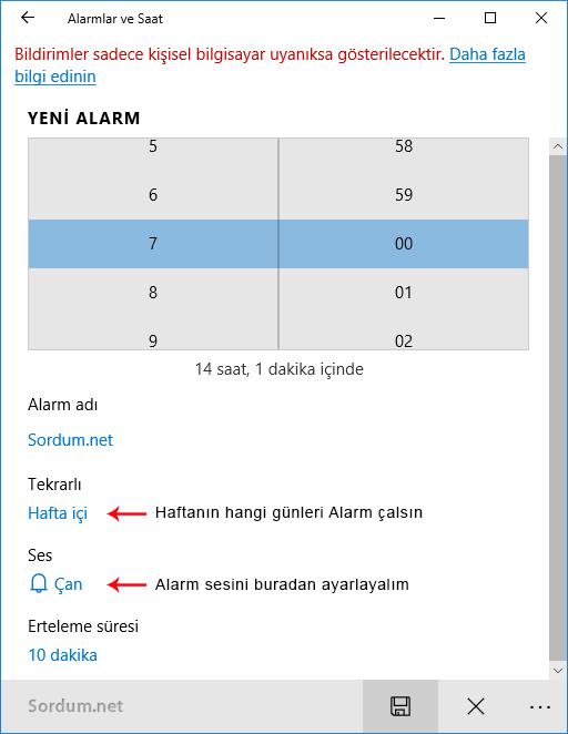 Alarm ayarları