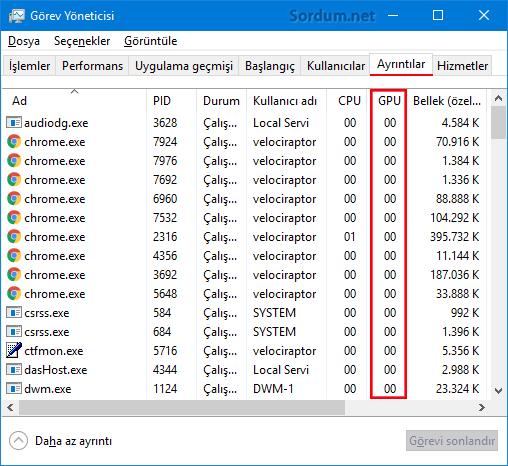 Ayrıntılar sekmesinde GPU