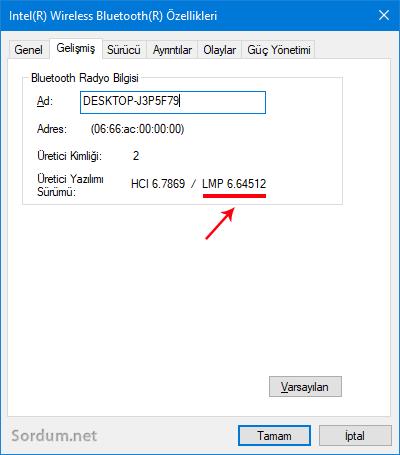 Bluetooth sürüm numarası