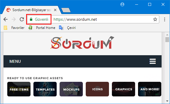 Chrome güvenli site ibaresi