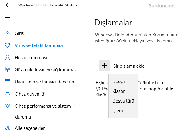 Windows defendere dışlama eklemek