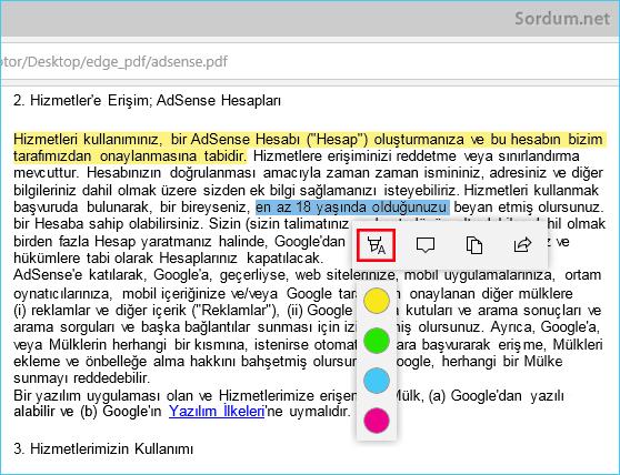 Microsoft EDGE metni vurgula