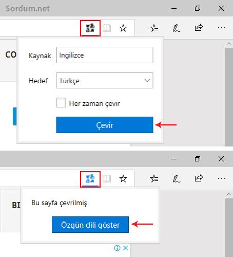 Microsoft Edge de sayfayı çevirmek