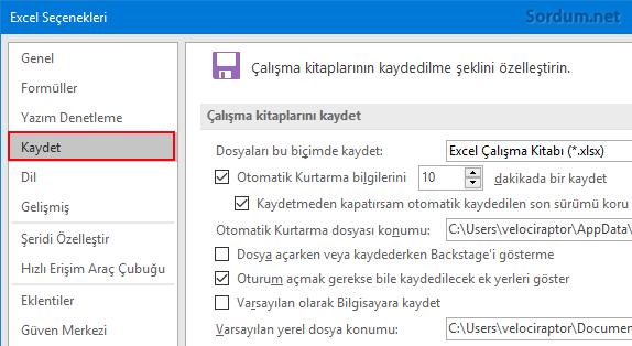 Excel kaydet seçeneği