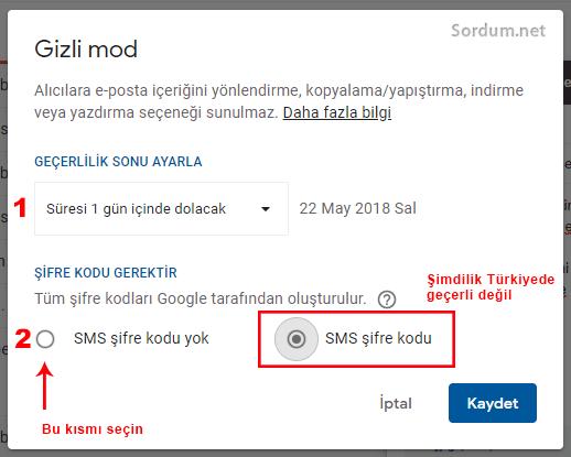 Gmail gizli mod şifre yok