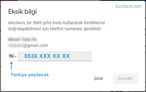 Gmail güvenli mod SMS seçeneği