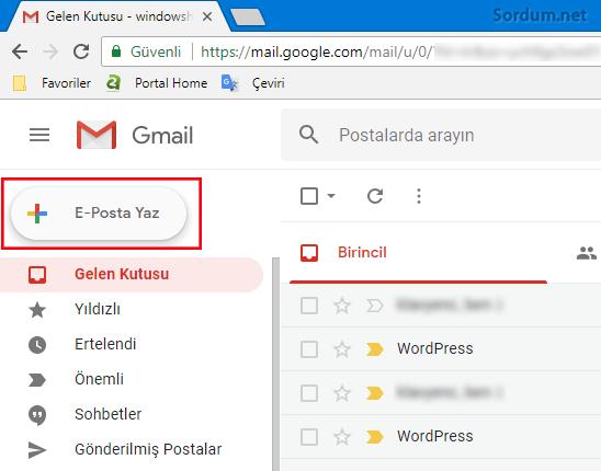 Gmail yeni arayüzde email yollamak