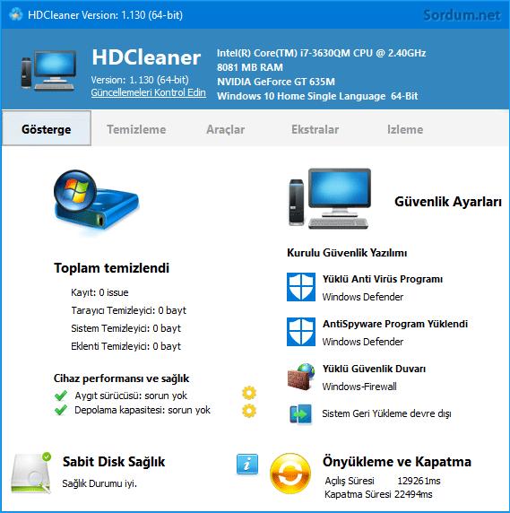 HD cleaner arayüzü