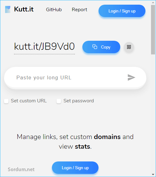 kutt.it kısa URL servisi