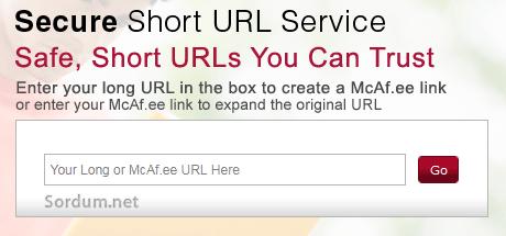 mcafee kısa URl servisi
