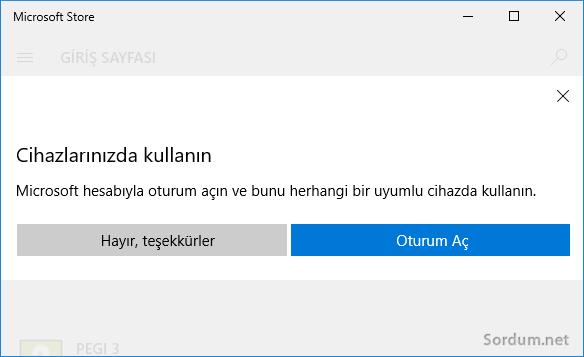 Microsoft Store oturum aç