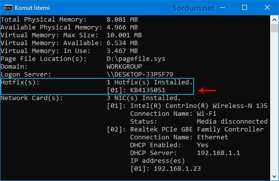 Systeminfo Hotfix