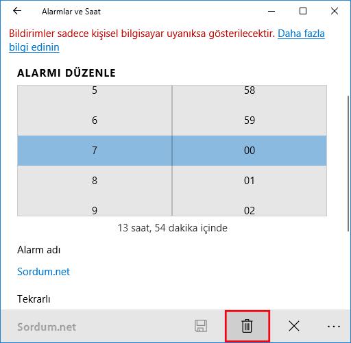 Windows 10 da alarmlar nasıl silinir