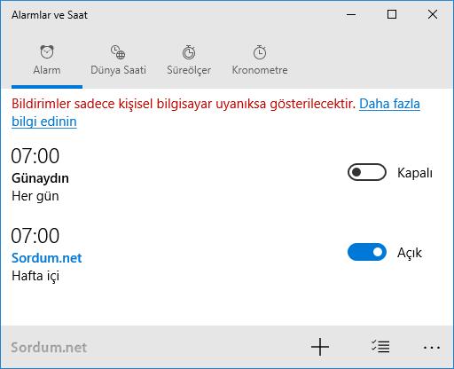 Windows 10 yeni alarm