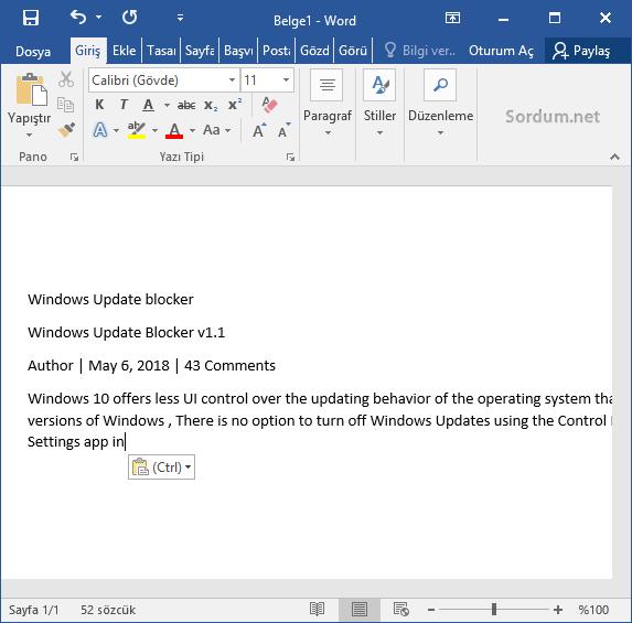 Microsoft word e yapıştırlanlar düz metin şeklini alsın