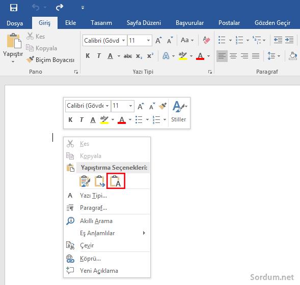 Microsoft Word a sadece metni yapıştır
