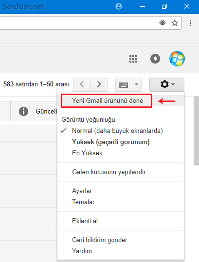Yeni Gmail ürününü dene linki